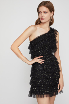 BCBG Max Azria Tiered Ruffle One Shoulder Dress - Product List Image
