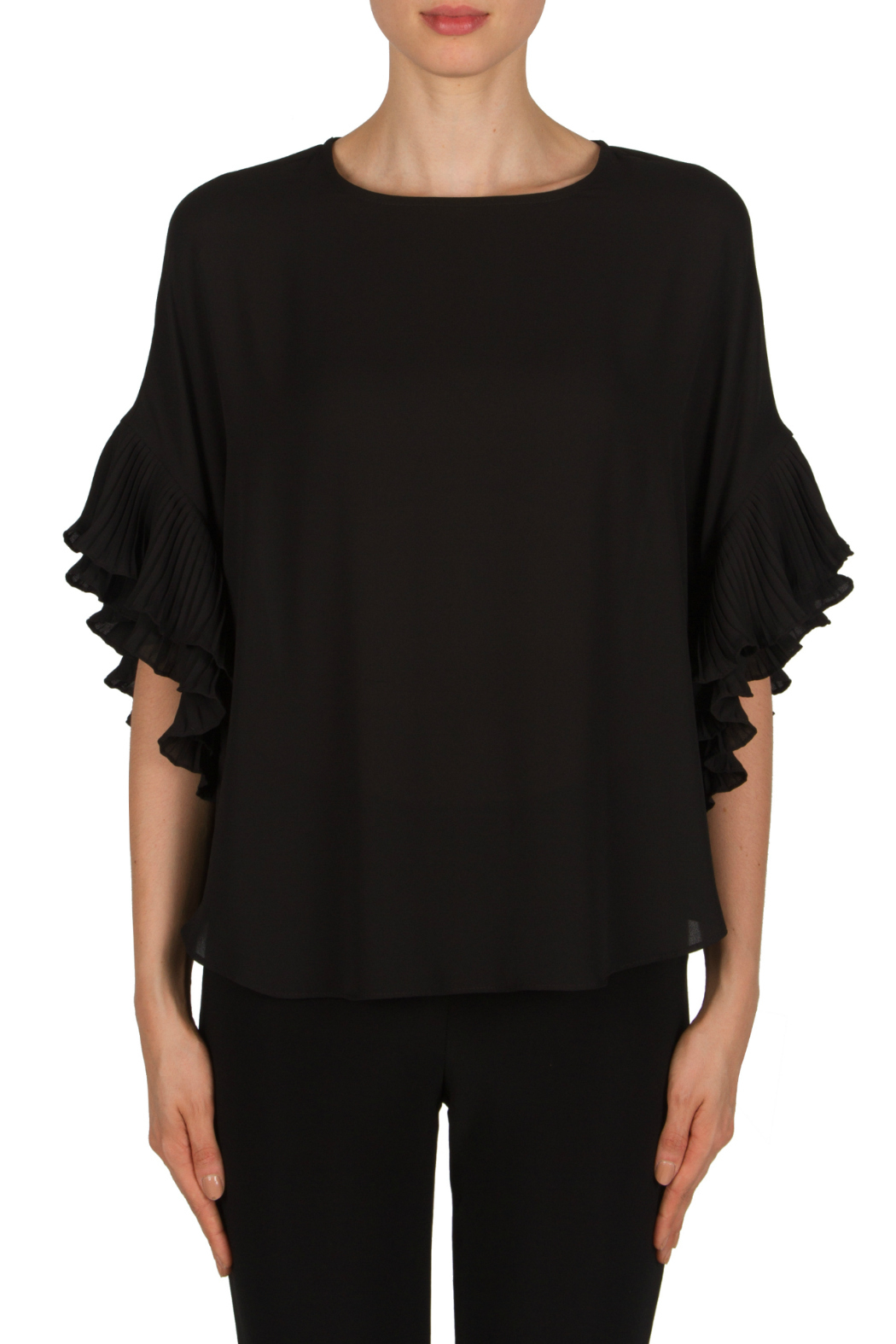 Joseph Ribkoff Tiered Ruffle Slv Back Zip Blouse - Front Cropped Image