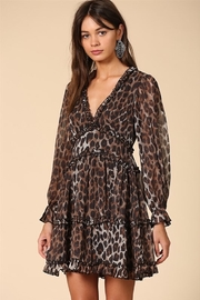 By Together  Tiered Ruffle V-Neck Chiffon Leopard Dress - Product Mini Image