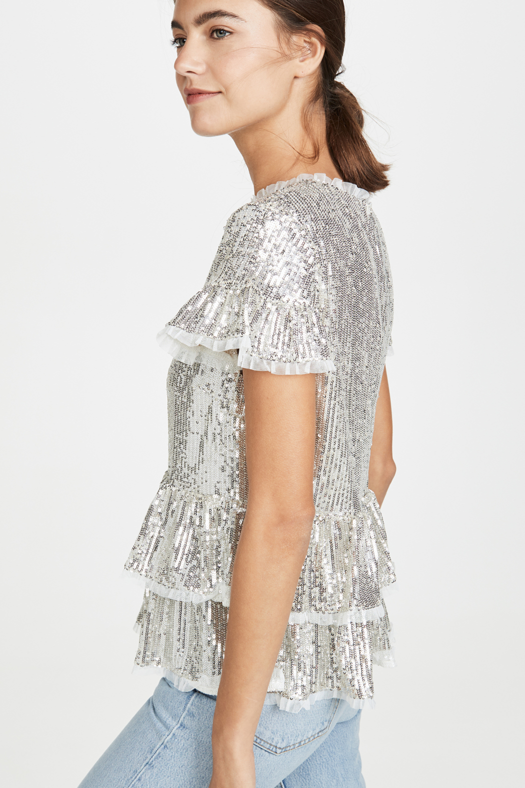 Endless Rose Tiered Sequin Blouse - Side Cropped Image