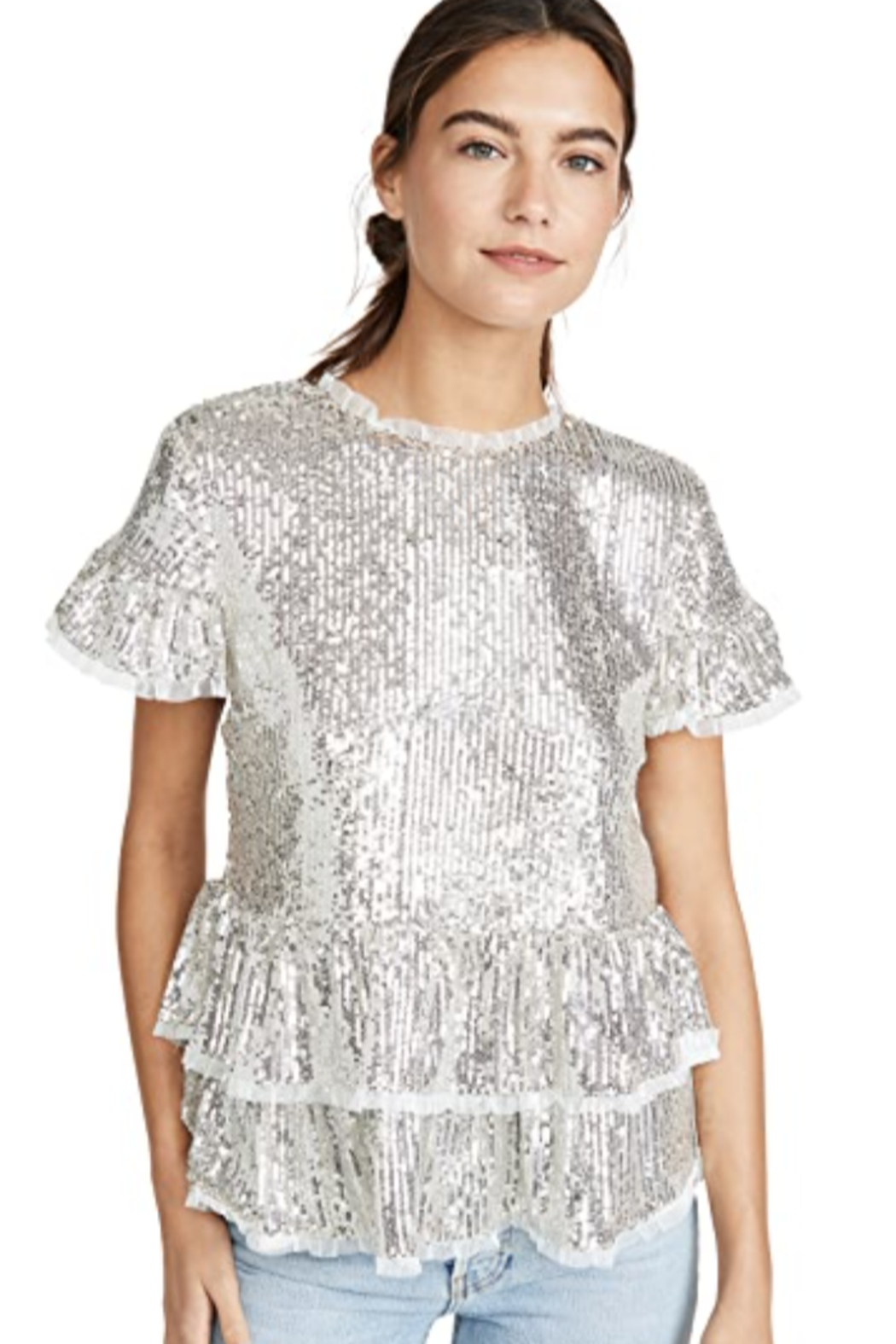 Endless Rose Tiered Sequin Blouse - Back Cropped Image