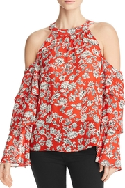 Red Haute Tiered-Sleeve Cold-Shoulder Top - Product Mini Image