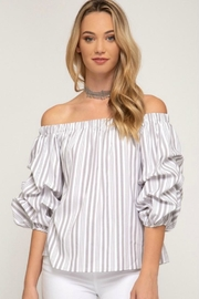 She + Sky Tiered Sleeve Off-The-Shoulder - Product Mini Image