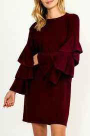 Olivaceous Tiered Sleeve Sweater Dress - Product Mini Image