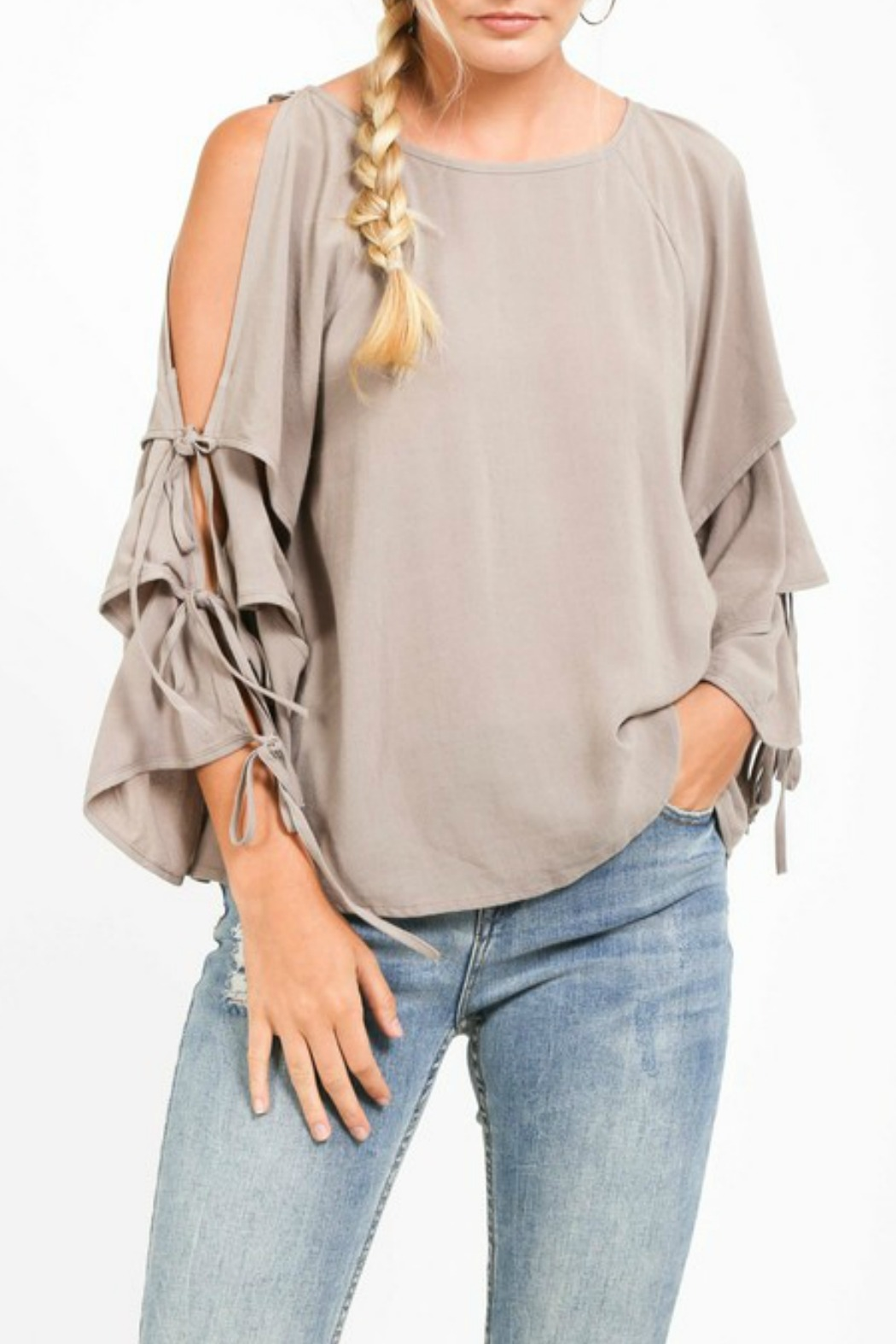 Very J Tiered Sleeve Top - Front Cropped Image