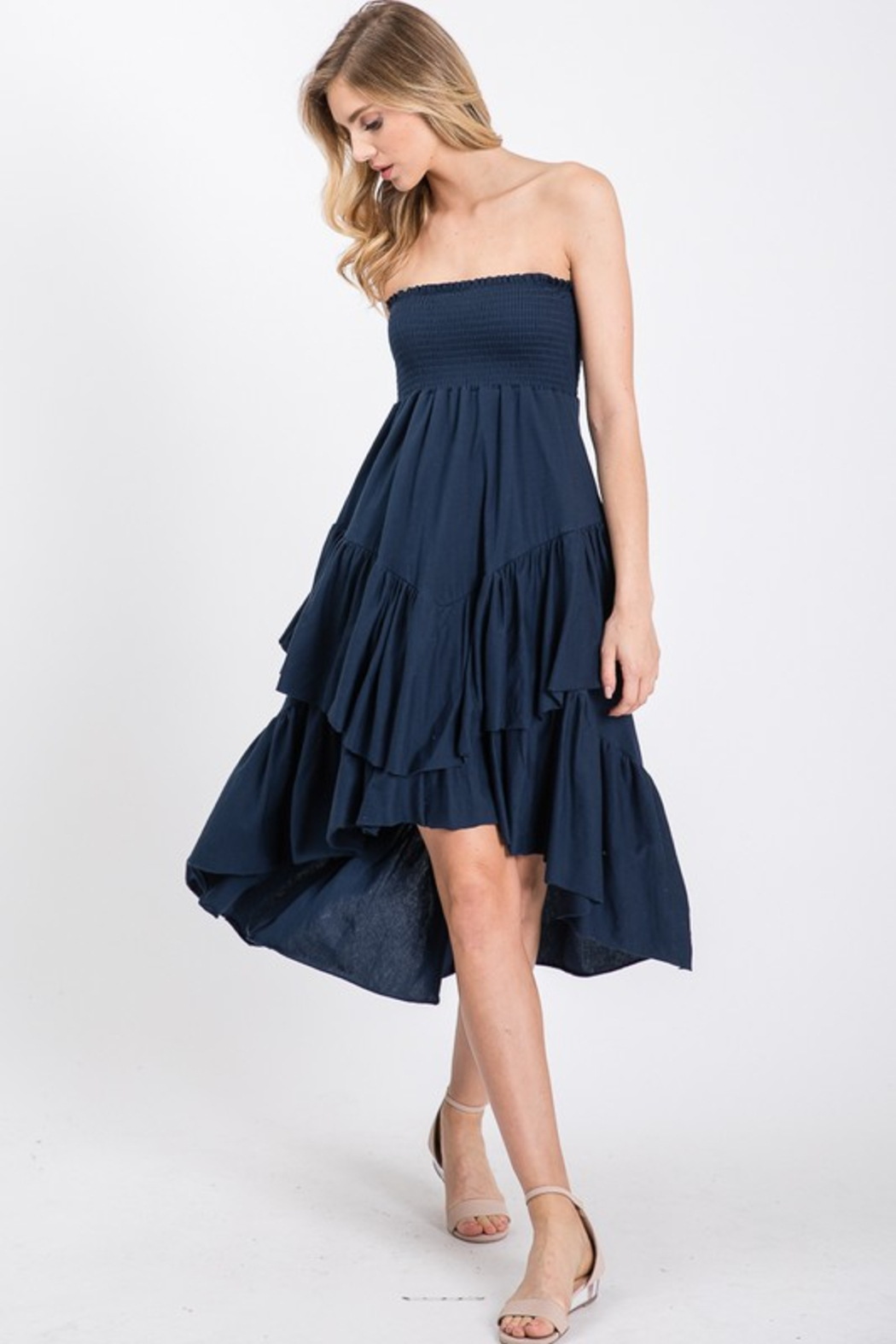 R+D Tiered Smock Dress - Front Full Image