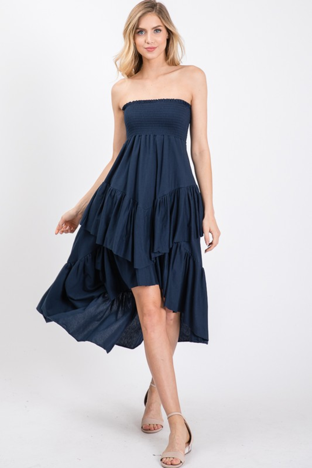R+D Tiered Smock Dress - Back Cropped Image