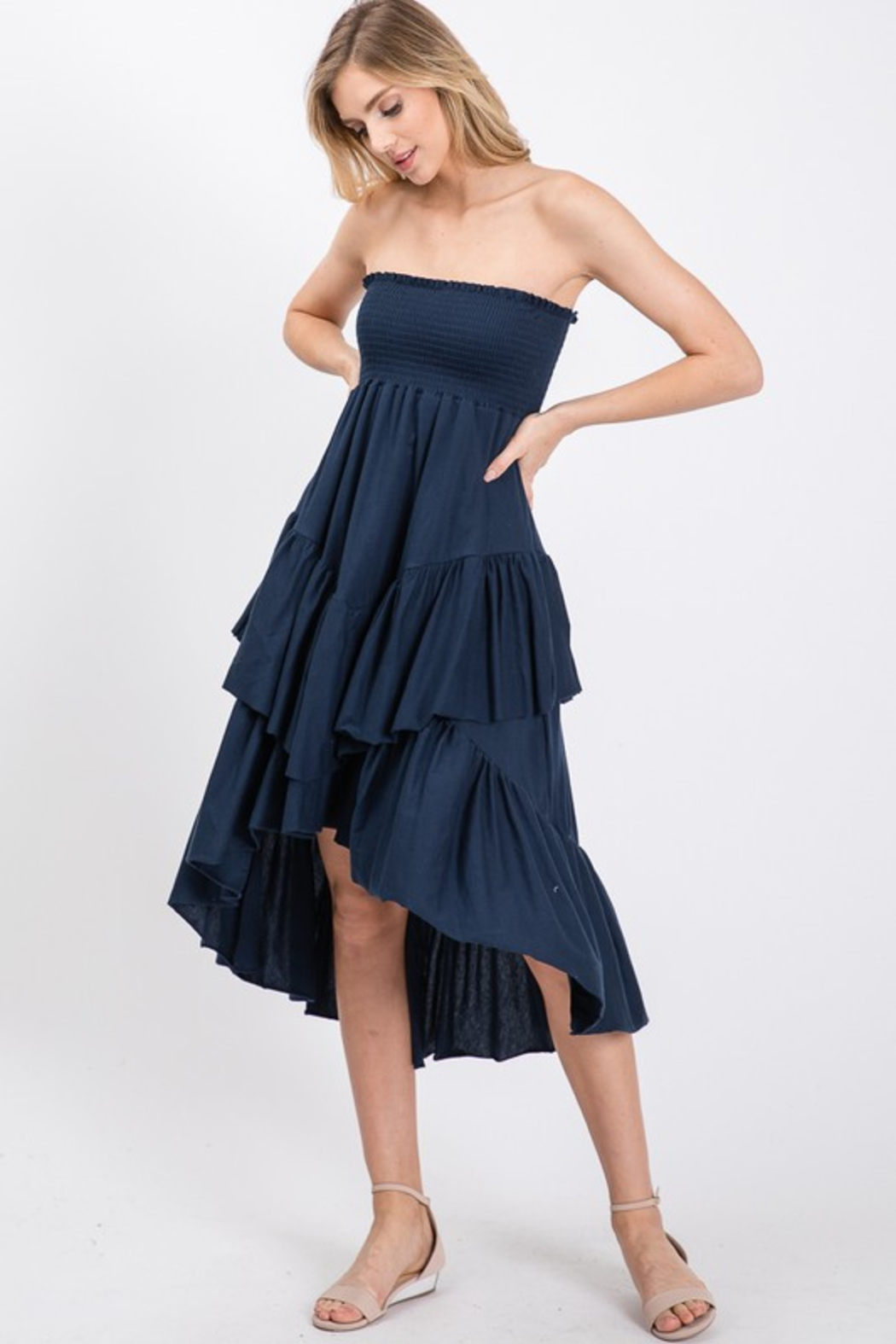 R+D Tiered Smock Dress - Side Cropped Image