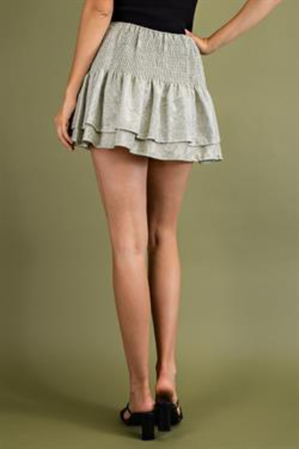 Glam Tiered Smocked Mini Skirts - Side Cropped Image