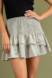 Glam Tiered Smocked Mini Skirts - Front cropped