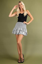 Glam Tiered Smocked Mini Skirts - Back cropped