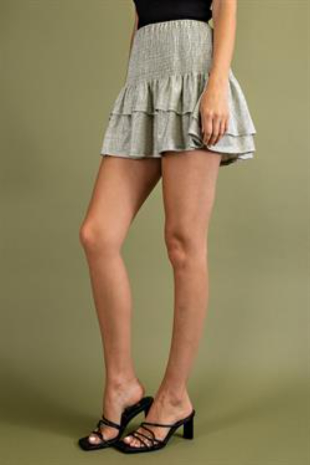 Glam Tiered Smocked Mini Skirts - Front Full Image