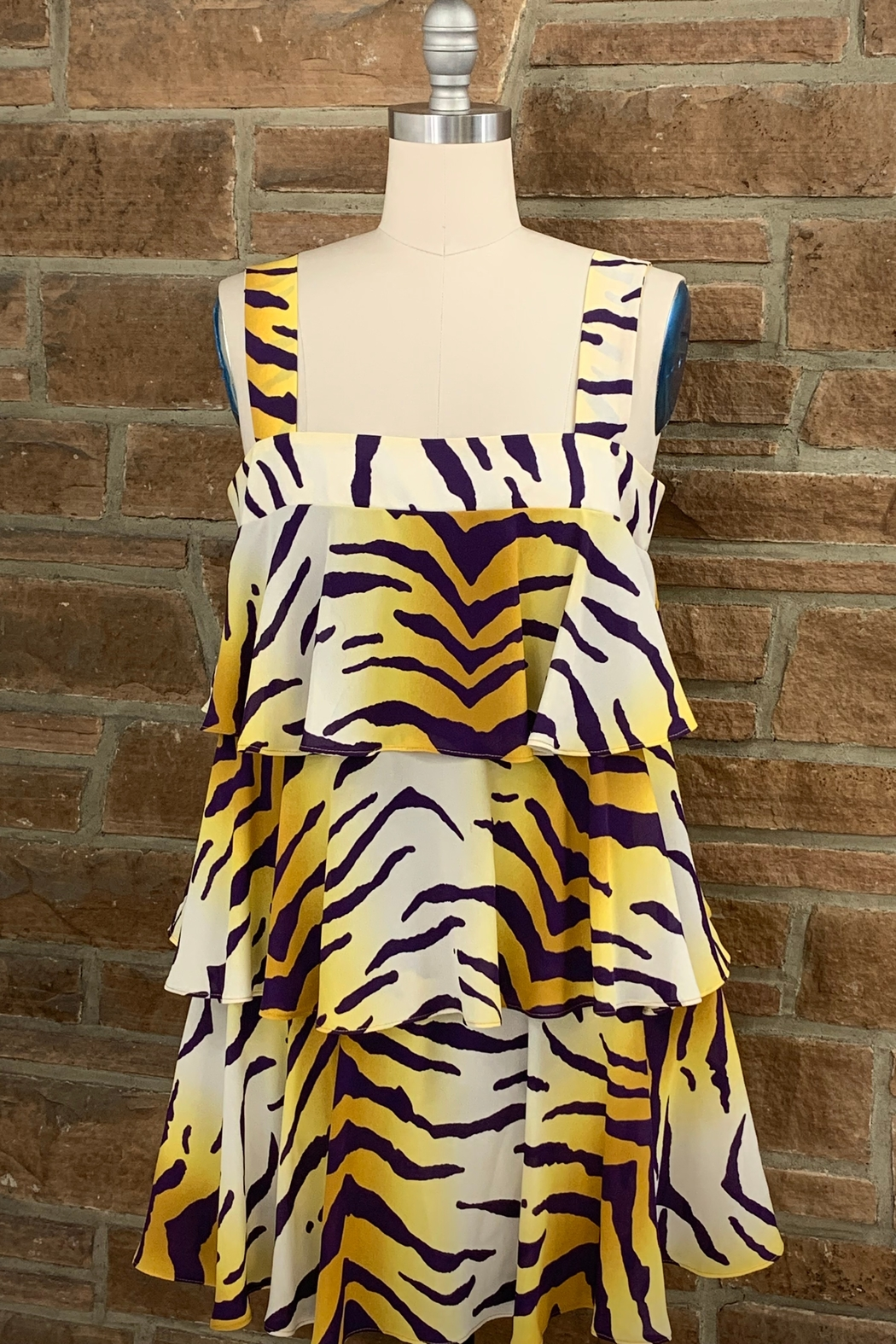 Adrienne Tiered Tiger Dress - Main Image