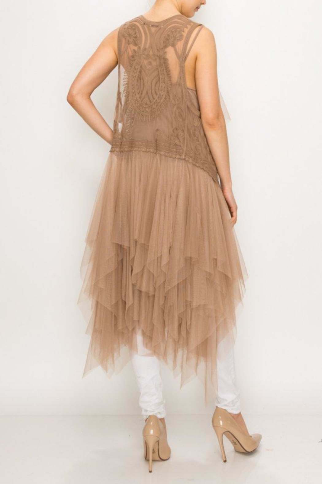 Origami Tiered Tulle Vest - Front Full Image