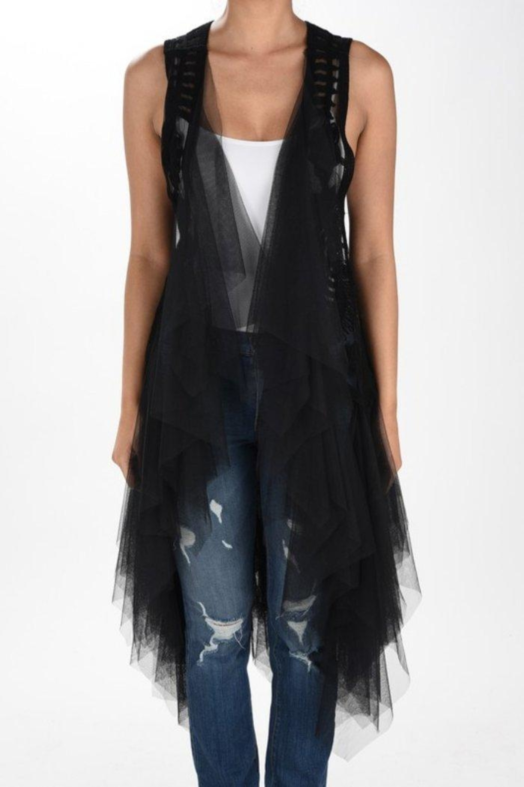 Origami Tiered Tulle Vest - Front Cropped Image