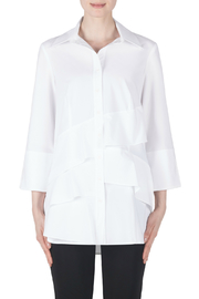 Joseph Ribkoff Tiered White Blouse w 3/4 Sleeves - Product Mini Image