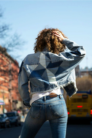 Blue Revival Tiffany Patchwork Star Denim Jacket - Front cropped