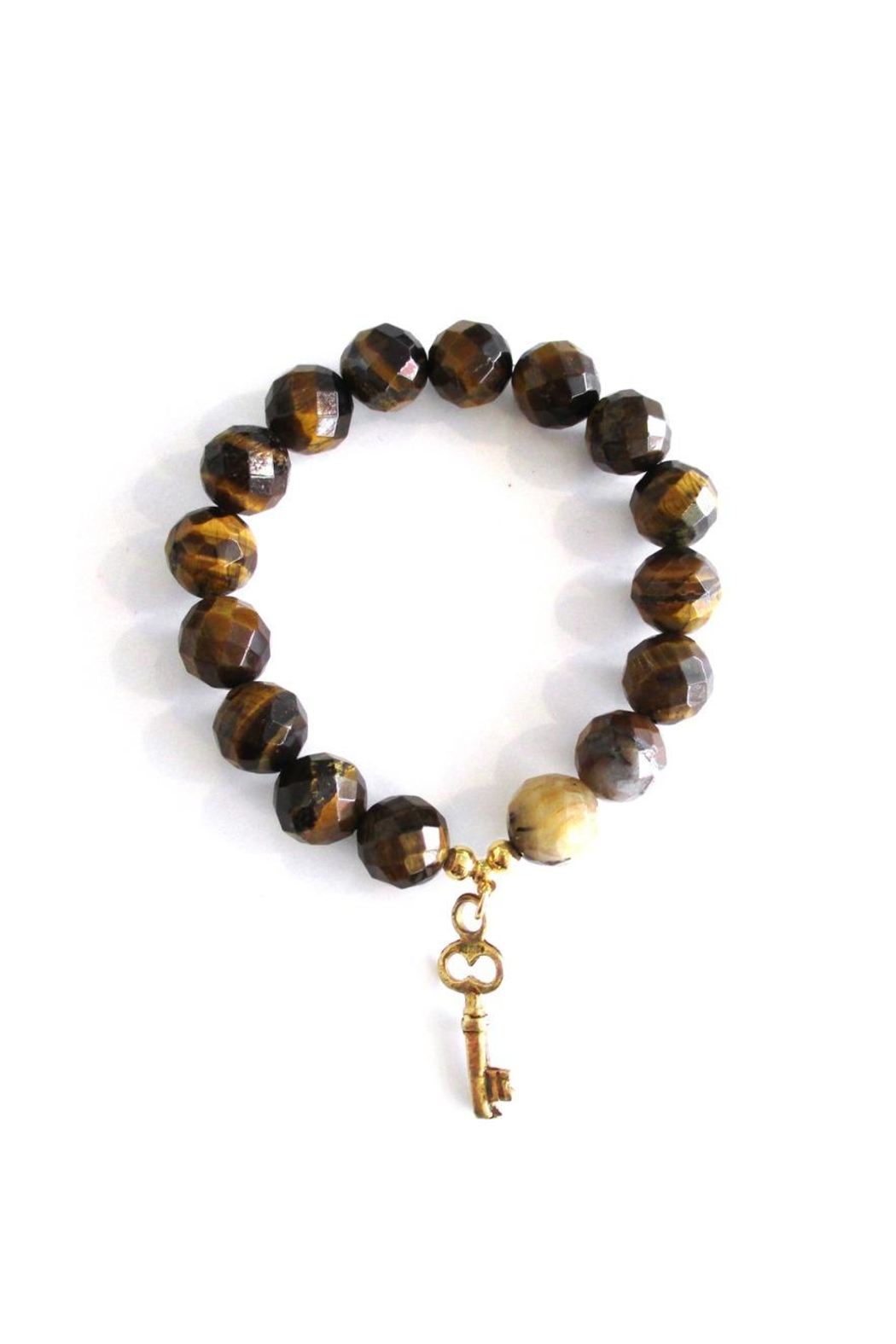 Malia Jewelry Tiger-Eye Key Bracelet - Front Cropped Image