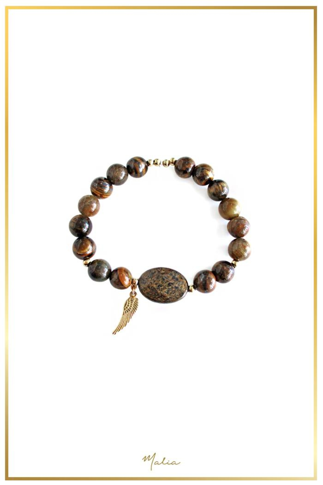 Malia Jewelry Tiger-Eye Wing Bracelet - Front Cropped Image
