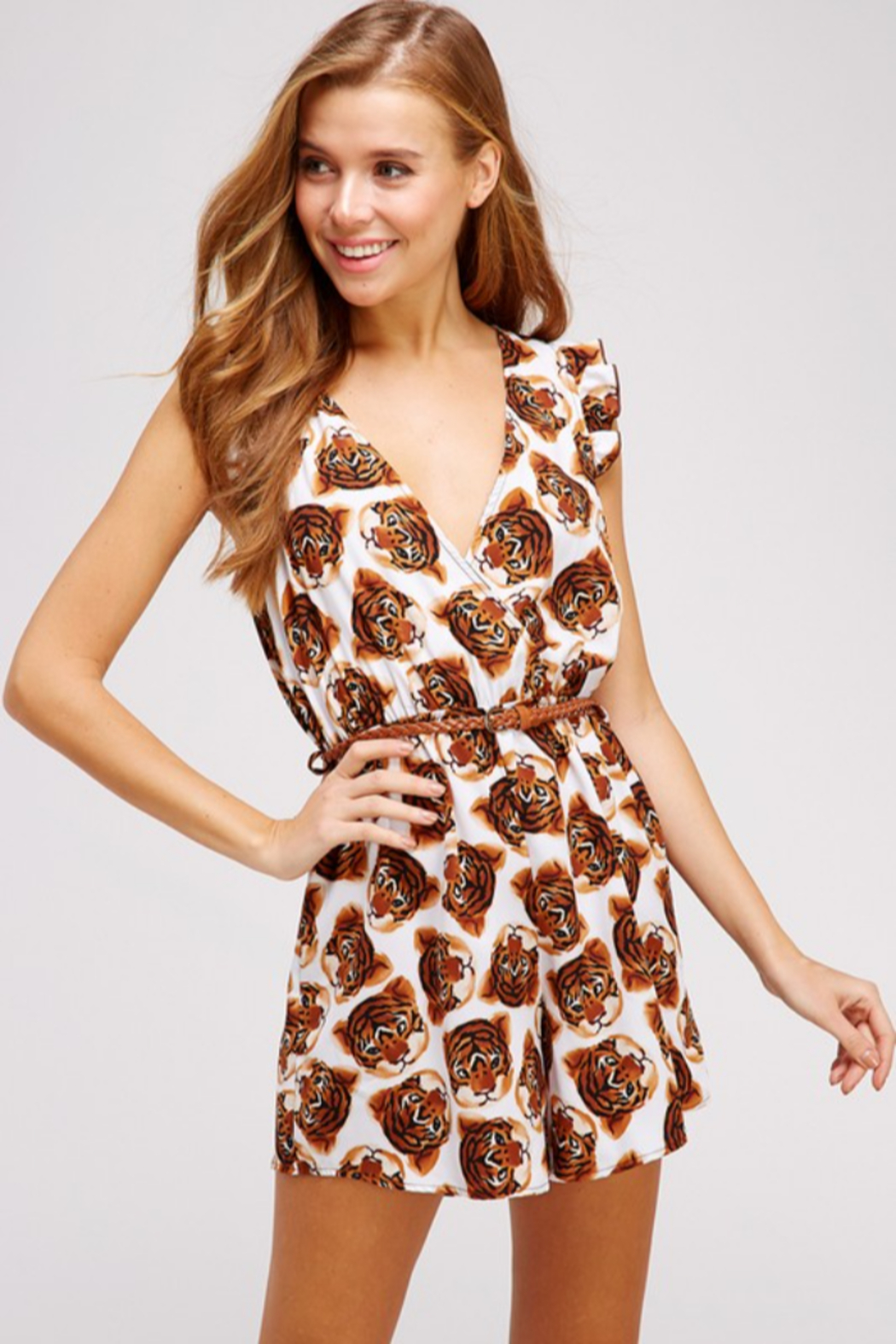 WESTMOON Tiger Face Romper - Front Cropped Image