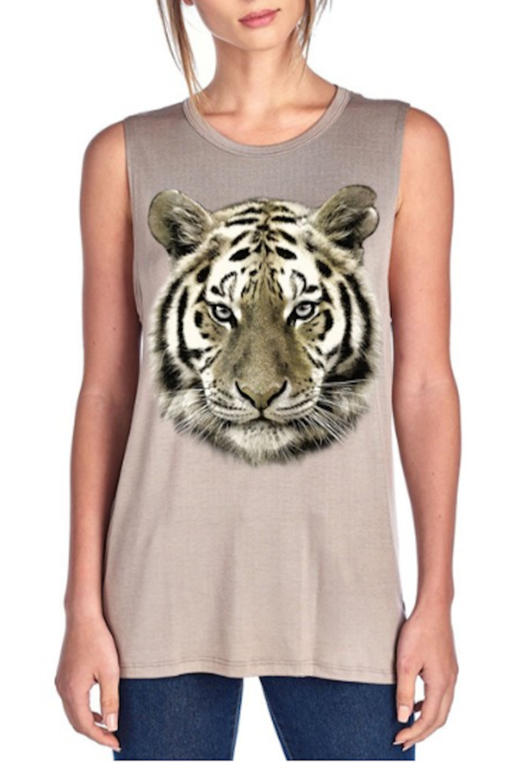 Color Bear Tiger Face Tank - Front Cropped Image