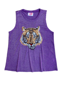 Sparkle City Tiger Head Glitter Tank - Alternate List Image