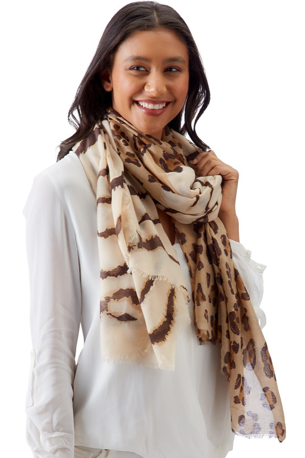 Two's Company Tiger & Leopard Print Scarf - Front Cropped Image