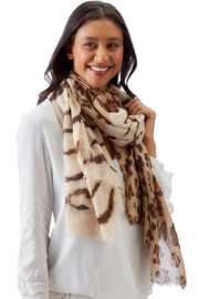 Two's Company Tiger & Leopard Print Scarf - Front cropped