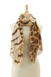 Two's Company Tiger & Leopard Print Scarf - Front full body