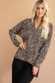 Glam Tiger Print Blouse - Front cropped
