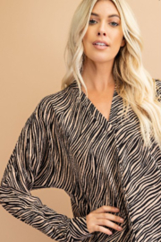 Glam Tiger Print Blouse - Front full body