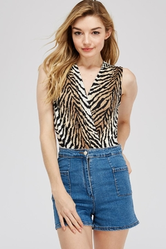 Dress Code Tiger Print Bodysuit - Product List Image