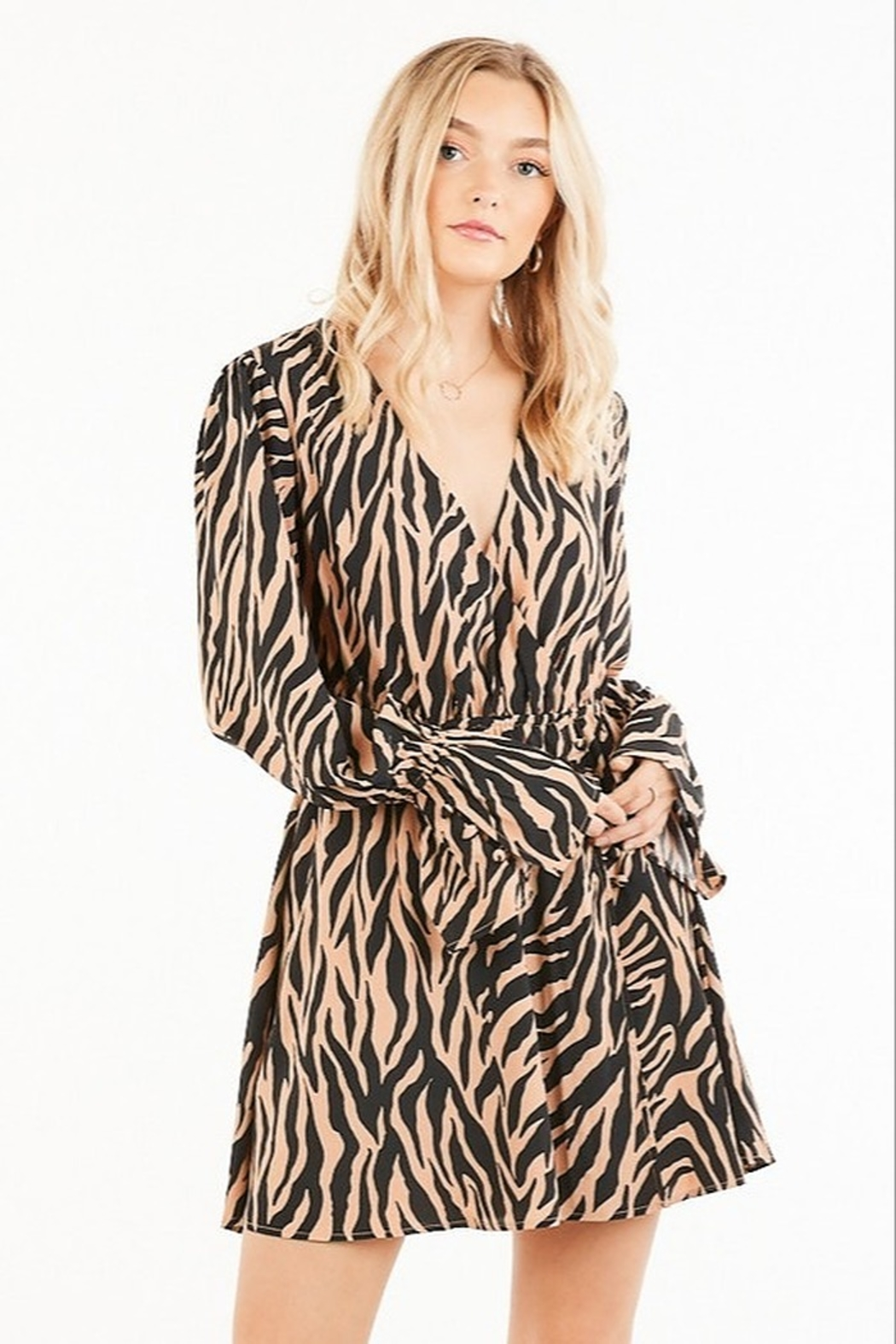 Very J Tiger Print Dress - Front Cropped Image