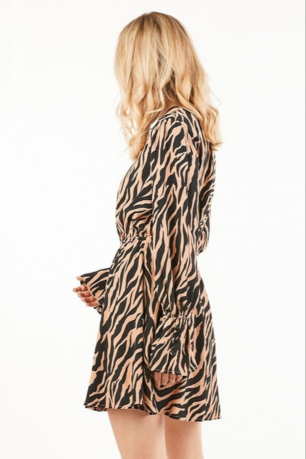Very J Tiger Print Dress - Front Full Image