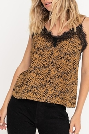 Lush  Tiger Print Lace Tank - Front full body