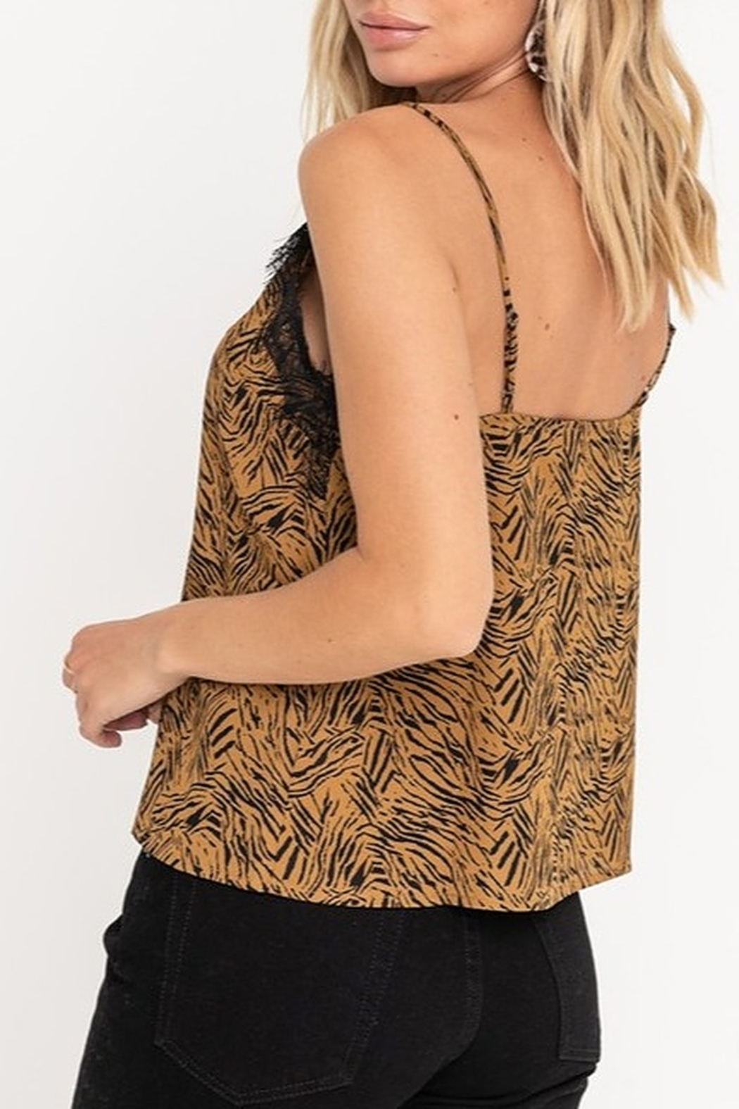 Lush  Tiger Print Lace Tank - Side Cropped Image