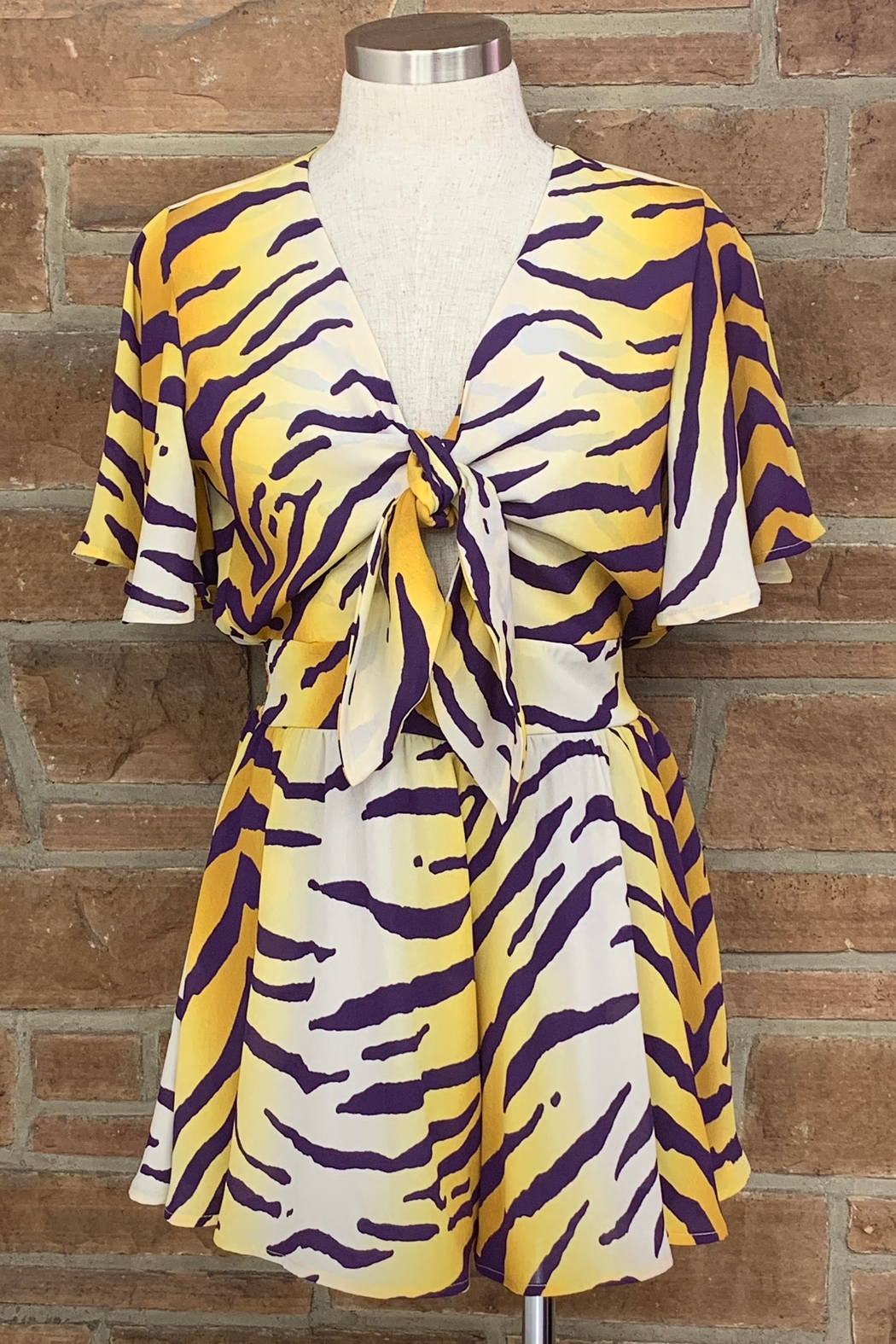 Adrienne Tiger Print Romper - Front Cropped Image