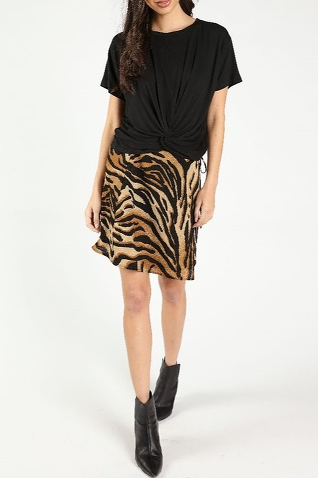 Wild Honey Tiger Print Skirt - Front Cropped Image