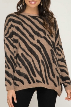 She + Sky Tiger Print Sweater - Product List Image