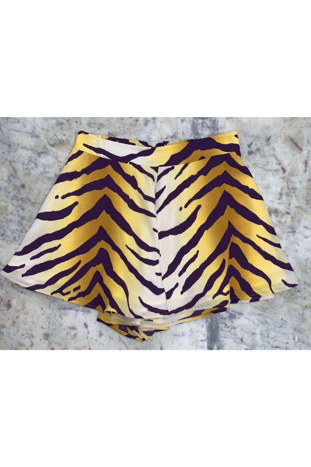 Adrienne Tiger Print Swing Short - Front Cropped Image