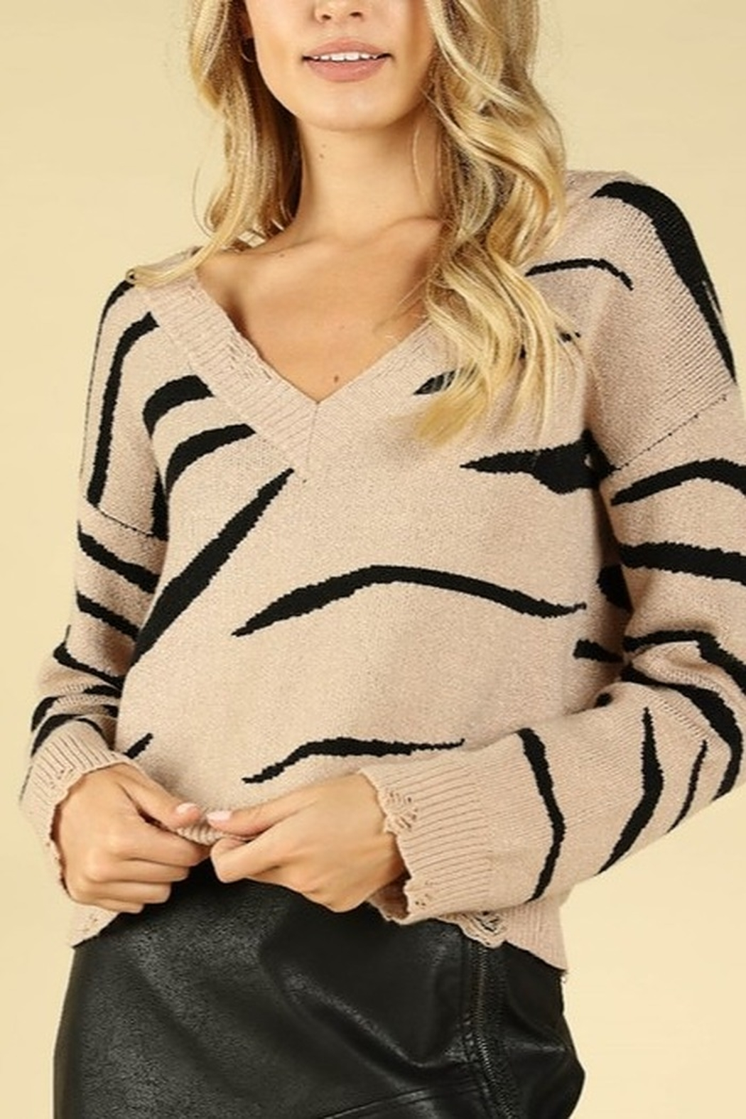Wild Honey Tiger Stripe Sweater - Front Cropped Image