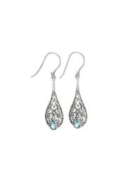 Tiger Mountain Dainty Blue Topaz Earrings - Front cropped