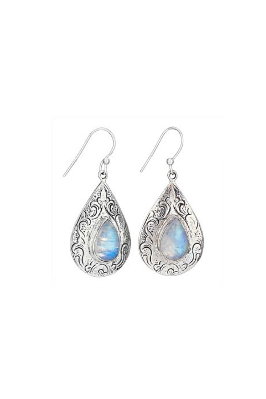 Tiger Mountain Etched Moonstone Earrings - Front Cropped Image