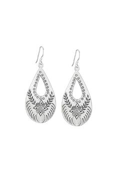 Shoptiques Product: Stamped Teardrop Earrings