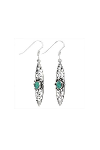 Tiger Mountain Turquoise Scroll Earrings - Main Image