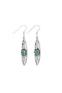 Shoptiques Product: Turquoise Scroll Earrings