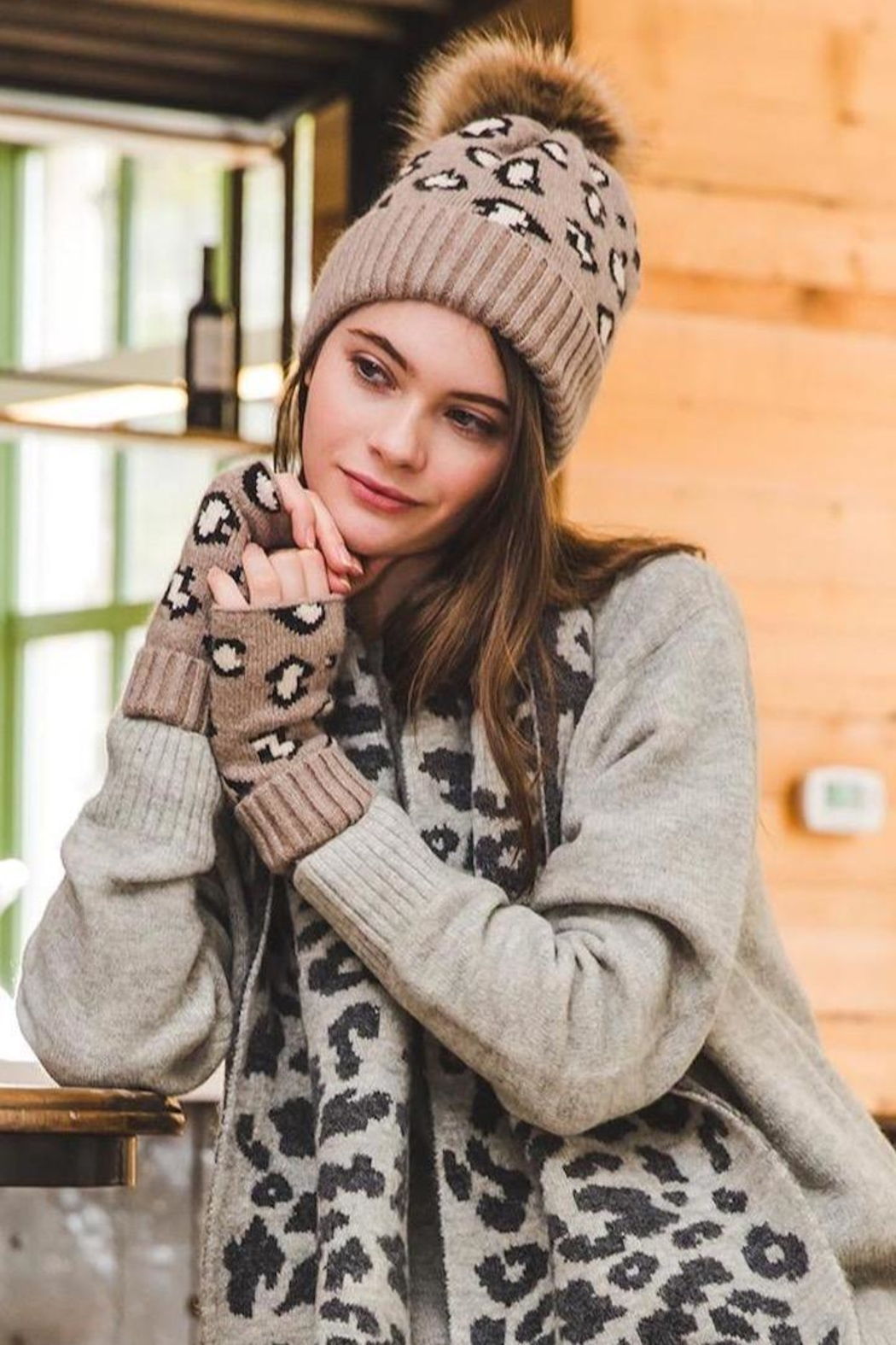 TIGERLILY Leopard Print Beanie - Front Full Image
