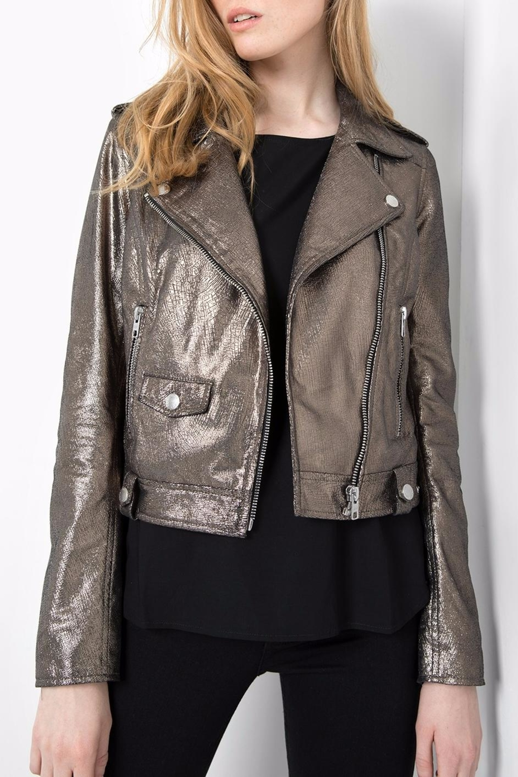 Tigha Galaxia Metallic Jacket - Front Cropped Image