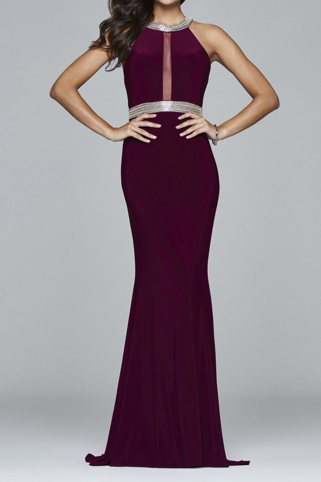 Faviana Timeless Bordeaux Gown - Front Cropped Image