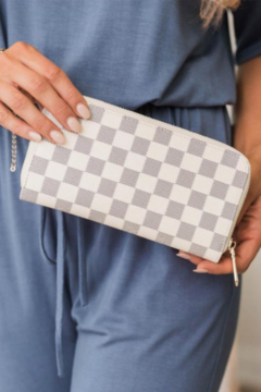 Shoptiques Product: Timeless Checkered Faux Leather Wallet